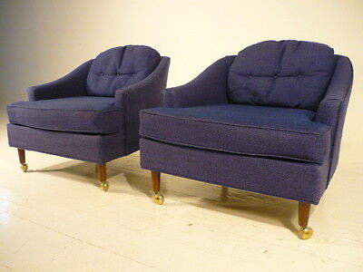 2 Mid 20th Century Modern 70's  Baughman Style Barrel Back Lounge Club Chairs