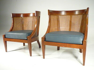 2 Vintage Mid 20th Century  Modern Barrel Cane Back Slipper Chairs Mont Era