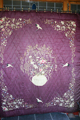 Antique Chinese Silk Hand Embroidered Padded & Quilted Bedcover Cranes & Florals