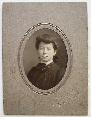 Antique Cabinet Card Oval Photo Young Lady Pretty Bow, Kaufmann's, Pittsburg PA