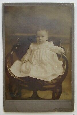 Antique Cabinet Card Photo Young Infant in White Dress, Kaufmann's, Pittsburg PA