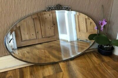 Art Deco Mirror Chrome Frame Bevelled Oval Vintage Wall Mirror Crest