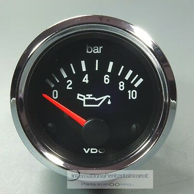 VDO OELDRUCK INSTRUMENT 10 bar *CHROME EDITION*  PRESSURE GAUGE 12V  52mm