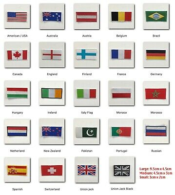 National Country Flags different sizes Iron Sew on Embroidered Patch Badge