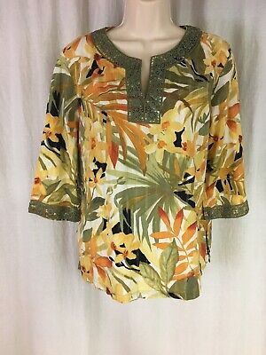 ca9d5c855c0 Women's Alfred Dunner Yellow Multi Floral 3/4 Sleeve Tunic Top Size 12 EUC