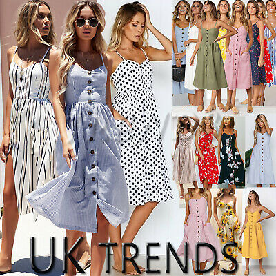 UK Womens Holiday Beach Button Ladies Summer Midi Floral Sun Dress Plus Size6-20