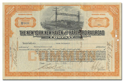 New York, New Haven and Hartford Railroad Co Stock Certificate (Electric Trains)