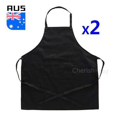 2X Plain Apron Cotton Poly Washable Kitchen Chef Cooking Butcher Craft Waiter