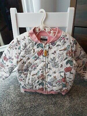 Mamas and papas Baby Girl Toddler Floral Bomber Zipper Jacket 9-12 Months