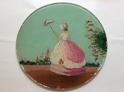 Rare English hand painted glass table top