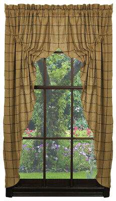 BURLAP BLACK and TAN CHECK PRAIRIE Swag Curtains 72x63 Primitive, Rustic, Cabin