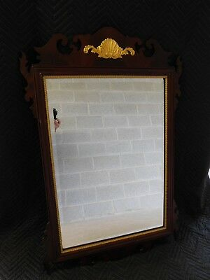 """Councill Craftsmen Flame Mahogany Federal Style Gold Gilt Accented Mirror 47.5""""H"""