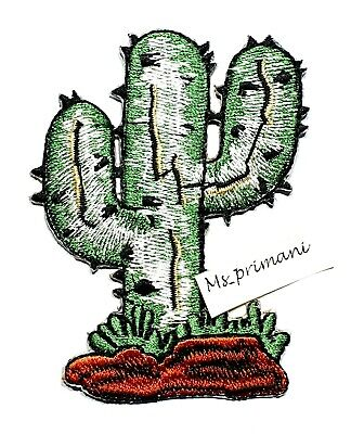 CACTUS 8cm x 5.5cm Embroidered Iron On Sew On Patch  western Cowboy