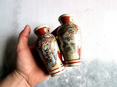 Pair of Antique Japanese Meiji Satsuma Vases