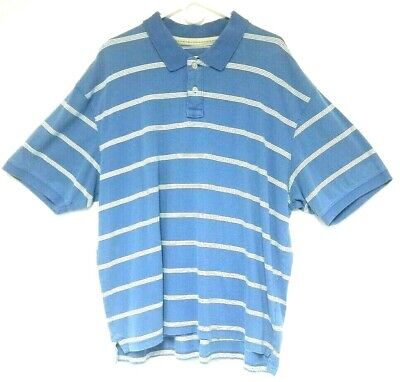 RedHead Shirt Polo Mens Blue Cream Striped New Pullover Casual Size 2XL