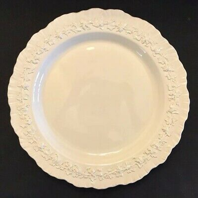 "WEDGWOOD QUEENSWARE Cream On Cream 12"" ROUND PLATTER CHOP PLATE Shell Edge MINT"