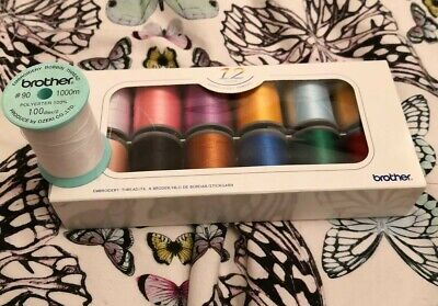 Brother Embroidery Machine Embroidery Threads BOX OF 12  & bobbin thread