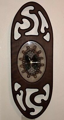 Vtg Hand carved Lg Wooden wall Clock w/ Pheasant Feather Butterfly Design Face