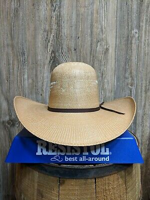 2e11837c92c6 RESISTOL RODEO COWBOY 7X Straw Hat Wide Brim Tall Crown Wheat Color ...