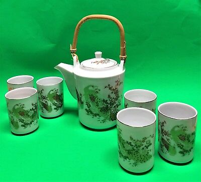 Cathay Tea Set Teapot and 6 Cups White With Gold Peacock Wood Handle China