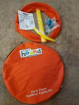 Outward Hound OutZip and Zoom Outdoor Agility Kit, 3 Obstacle Dog Kit Tunnel