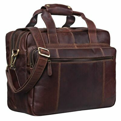 """STILORD """"Experience"""" Teacher Leather Shoulder Bag attachable to Trolleys"""