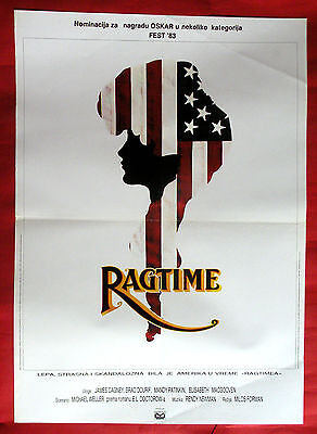 RAGTIME 1983 MILOS FORMAN JAMES CAGNEY ELIZABETH McGOVERN RARE EXYU MOVIE POSTER