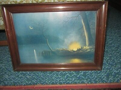 Antique Lithograph Print 1905 Night Time Lake Campfire Framed Cabin Cottage Art