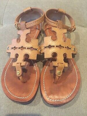 eb5028b2b6e1 TORY BURCH Phoebe Chandler Millers Flat Thong Sandals Royal Tan Brown Size  6.5