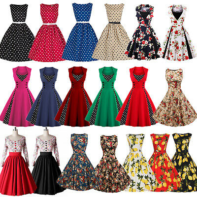 Women Vintage Style 50's 60's Retro Floral Rockabilly Evening Party Swing Dress