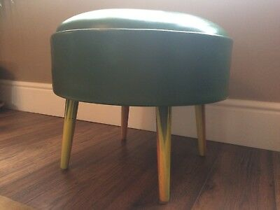 1950,s Green Leather round  Pouffe Footstool, retro, vintage sherbourne