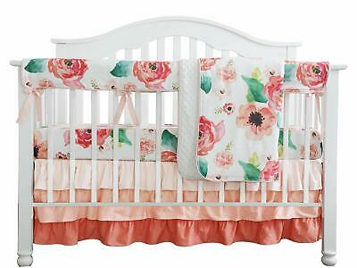 Boho Chic Coral Floral Baby Reversible Minky Crib Rail Guard