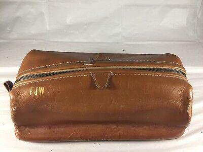 Vintage Distressed Leather Dopp Kit Bag Toiletry Carrying Case Travel