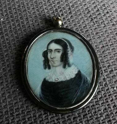 American Late 18Th Century Early 19Th Miniature Hand Painted Portrait In Case