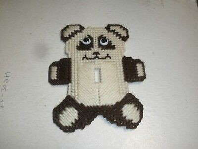 NEW Finished Plastic Canvas Brown Teddy Bear Light Single Switch Cover