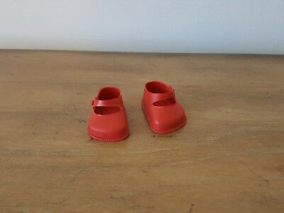 SIZE 3 RED PLASTIC CINDERELLA SHOES FOR VINYL DOLLS FITS 75mm FOOT