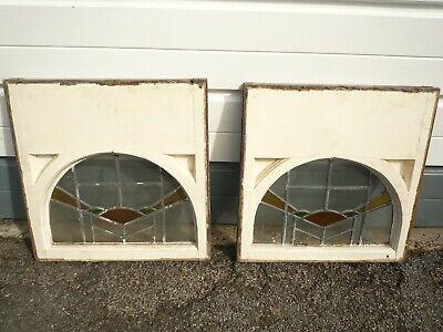 Pair of vintage antique leaded stained glass windows