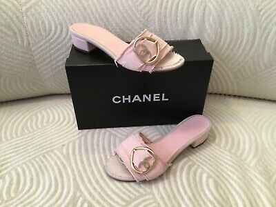 06647978c Authentic Chanel Light Pink Canvas HEART Summer Pool Silde Sandals + Box  38.5