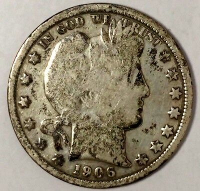 1906-O 50C Barber Half Dollar, 18hlw0805 90% Silver 50 Cents Shipping