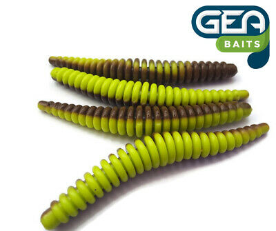 Ring Worms Creamy Red with skirt Fishing Soft Lures Tackle Baits