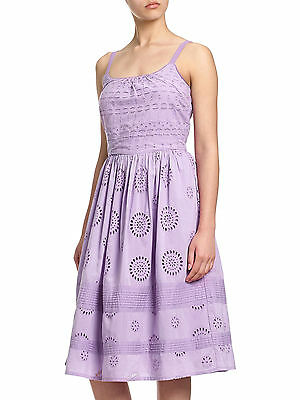 5c05014c ADRIANNA PAPELL UK 10 Pretty Broderie Anglaise Cotton Summer Dress Lilac