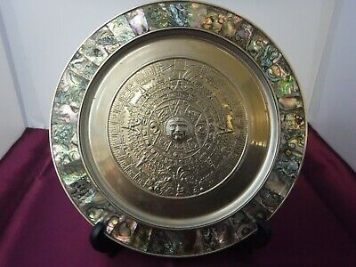 Aztec Calendar Plate Mother of Pearl Abalone Inlay Mexico Alpaca German Silver