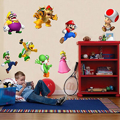 SUPER MARIO BROS 8 CHARACTERS SET Decal Removable WALL STICKER Home Decor Art