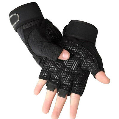 Weight Lifting Mens Workout Fitness Gloves Training Bodybuilding Gym Wrist Strap