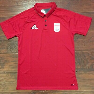 5175e1093fe 2018 Iran Red Polo Jersey Large Adidas World Cup Hotel Shirt Persian  Cheetah NEW