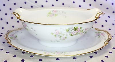 1947 Noritake TOURAINE Gold Trim GRAVY BOAT with Attached Plate Occupied Japan