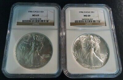Pair of 1986 American Silver Eagles, MS69 NGC, Sequenced, First Year Made!