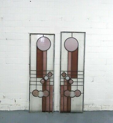 Lead-light Stained Glass Window Art Deco Style x 2(approximately 1110mm x 345mm)
