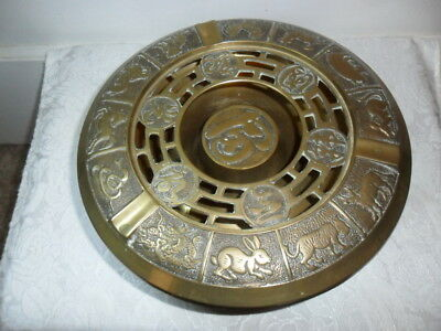 Antique/vtg Chinese Brass Embossed Bowl With Lid W 12 Zodiac Animals - Rare!!