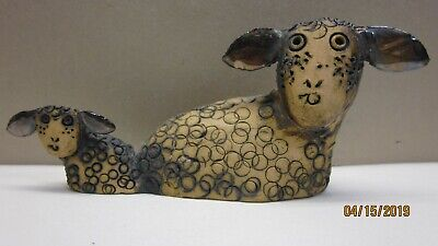 Adorable Hand Made Folk Art Pottery Clay Mother / Baby Sheep Figurine